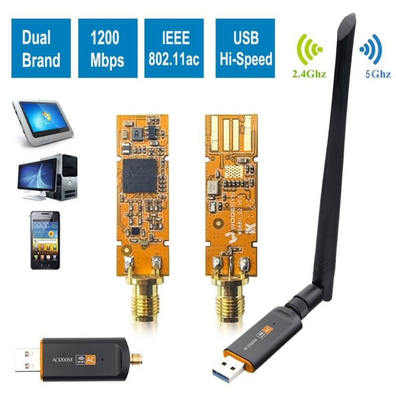 Fast 2.4G/5.8G WIFI 1200Mbps USB 3.0 Dual Band Adapter Wireless AC Network Card With Rotatable Antenna With 802.11ac For Lapto