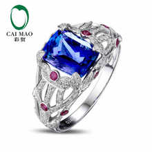 CaiMao 14KT/585 White Gold 3.06 ct Natural IF Blue Tanzanite AAA 0.76 ct Full Cut Diamond Engagement Gemstone Ring Jewelry