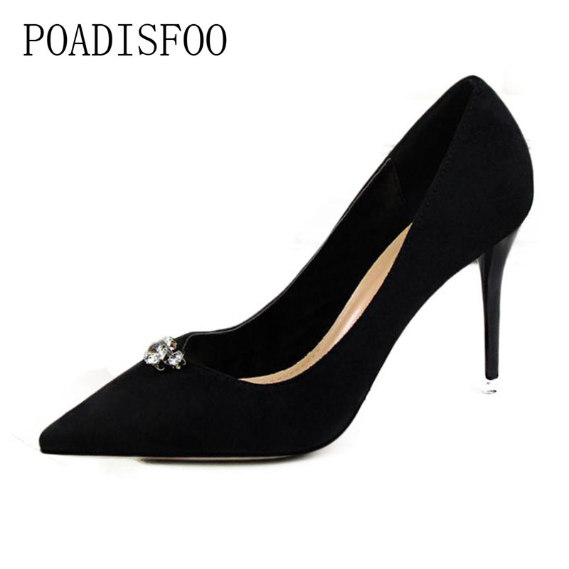 High Heel Shallow Mouth Pointed Suede Single High Heels Shoes The Minimalist Sexy Pedicure Thin Thin With  .PSDS-9222-1 genuine large size single toe head high heels shallow mouth thin heel velvet shoes woman star with w824