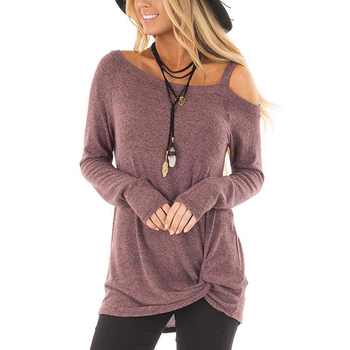 Long Sleeves One Shoulder Twist Knot Front T Shirt
