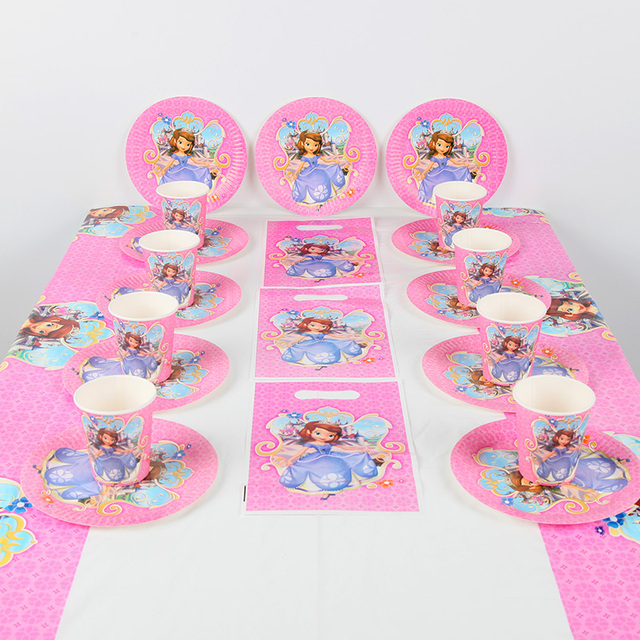 61pcs Sofia The First Girls Birthday Party Supplies Plate Cup