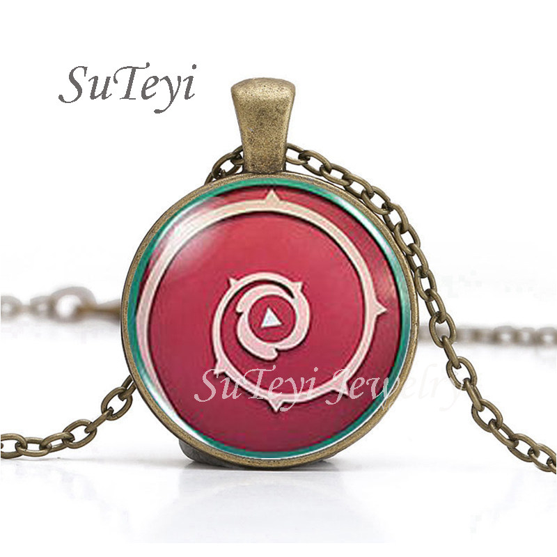 Fashion US Animax Steven Universe Shield Cabochon Mens Handmade Necklace brass silver Pendant steampunk Jewelry Gift women chain