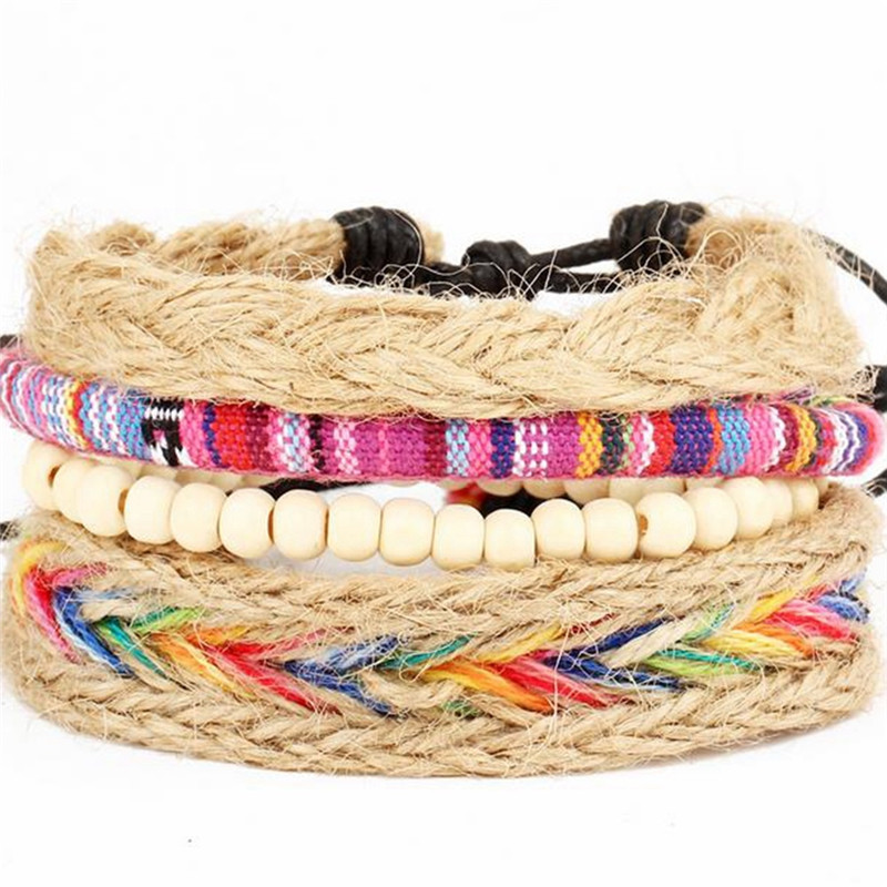 1 Set Bohemian Style Leather Wrap Adjustable Cord Braided Bracelet Wristband Unisex Jewelry Accessory Gifts