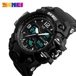 SKMEI Новая мода Для мужчин спортивные часы Для мужчин аналоговые кварцевые светодиодный цифровые часы человек военный Водонепроницаемый ча...
