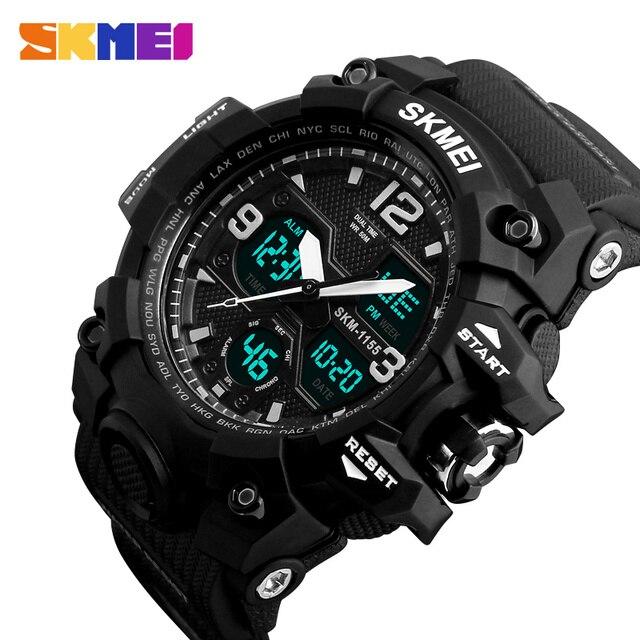 SKMEI Новая мода Для мужчин Спортивные часы Для мужчин кварцевые аналоговые светодиодный цифровой часы человек Военная Униформа Водонепроницаемый часы Relogio Masculino 1155b
