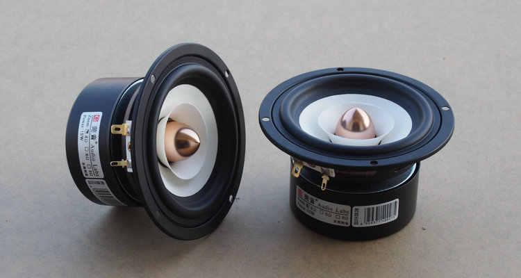 1 шт. Аудио Labs 4 дюймов полночастотный динамик драйвер блок магнетизма экранированный белый бумажный конус алюминиевая пуля 4/8 Ом опция 25 Вт
