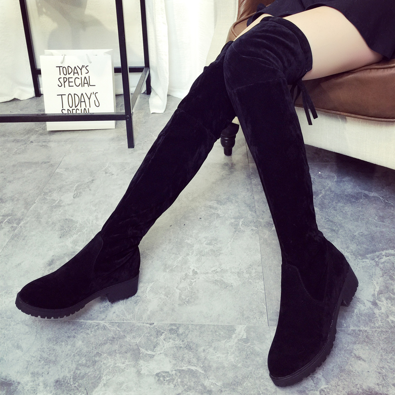 2016 Mujeres Atractivas Del Muslo Botas Altas Sobre La Rodilla Clásico Otoño Invierno Mujer Zapatos de Las Señoras Tacones Gruesos Zapatos de Mujer de Diseño
