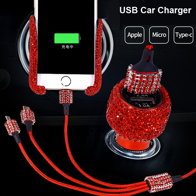 Image 2 - Bling Crystal Data Cable For iPhone Fast Charging Cable Diamond 3 in 1 USB Cable For Android Micro Type C Mobile Phone Cables-in Cables, Adapters & Sockets from Automobiles & Motorcycles