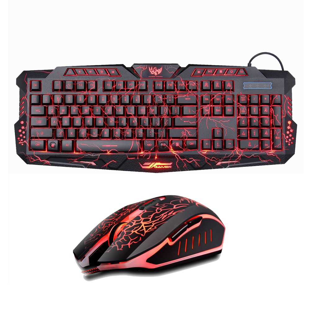 Backlit Russian/English Gaming Keyboard + Crack Gaming Mouse 6 Buttons Breathing Light Colorful Mice