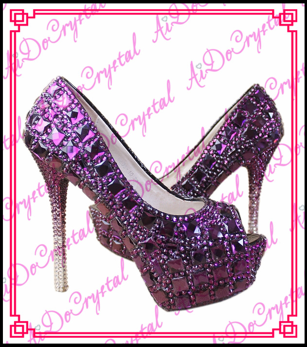 Aidocrystal luxury purple big diamonds peep toe heels pumps custom glitter wedding font b shoes b
