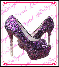 Aidocrystal luxury purple big diamonds peep toe heels pumps custom glitter wedding shoes
