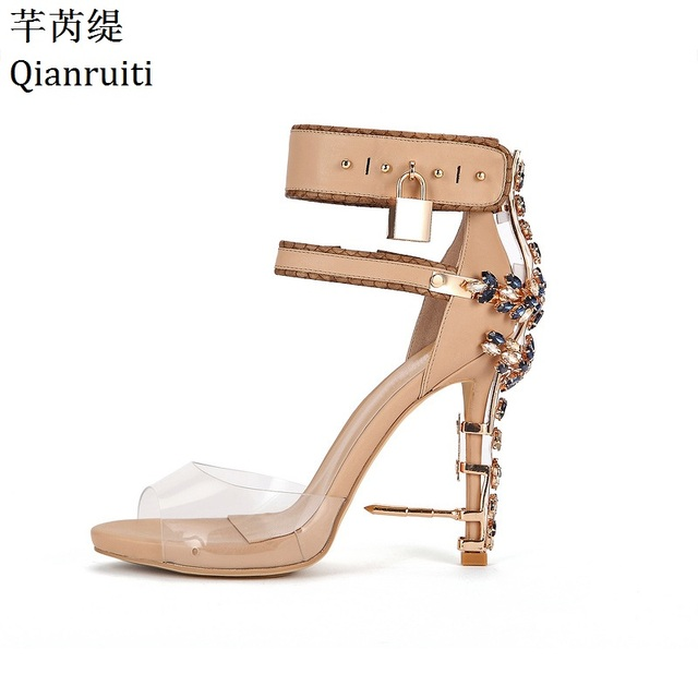 Qianruiti Transparent PVC Ankle Strap Women Pumps Rome Style Padlock High  Heels Gladiator Sandals Studded Crystal Women Shoes a923cb996006