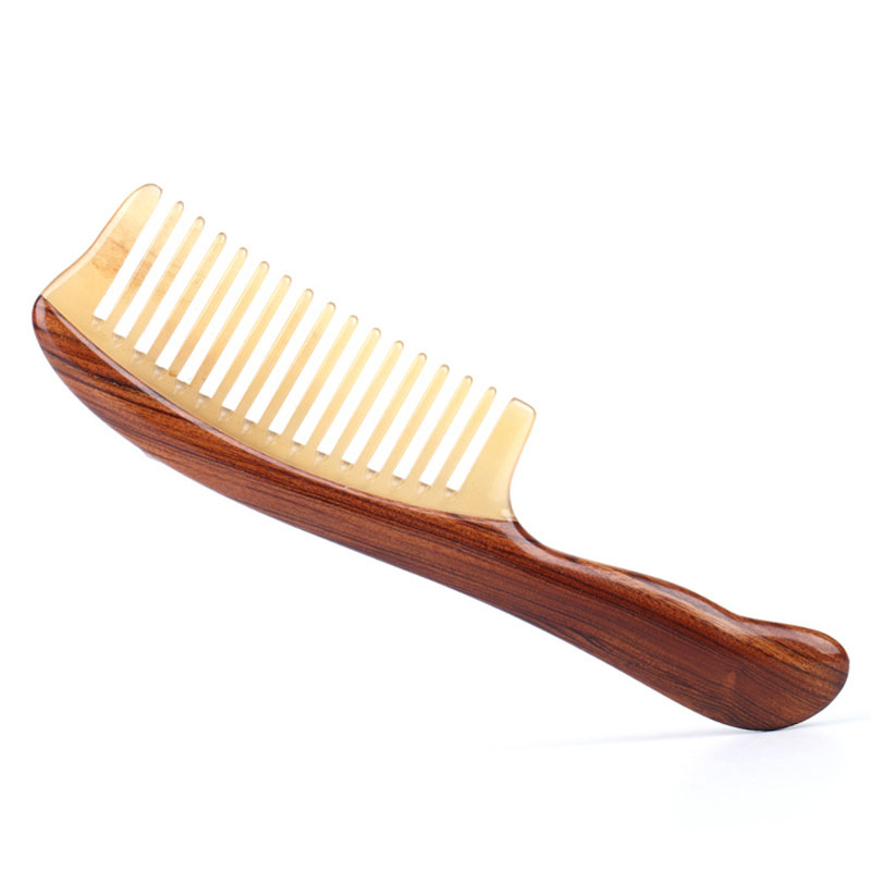 High Quality Natural horn comb massage Synthetic comb dense teeth long hair green sandalwood comb Natural head comb with handle цена 2017
