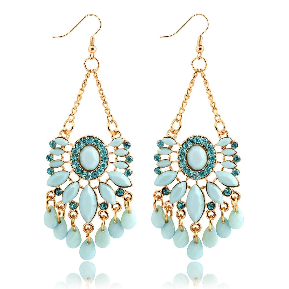 If Me Hot Sale Sky Blue Water Drop Crystal Statement Dangle Earring Fancy  Luxury Summer Style