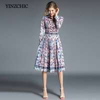 Vintage Printed Woman Autumn Dress Full Sleeve Female Elegant Mid Dresses Party Knee Length Pleated Dresses Women Casual Dress