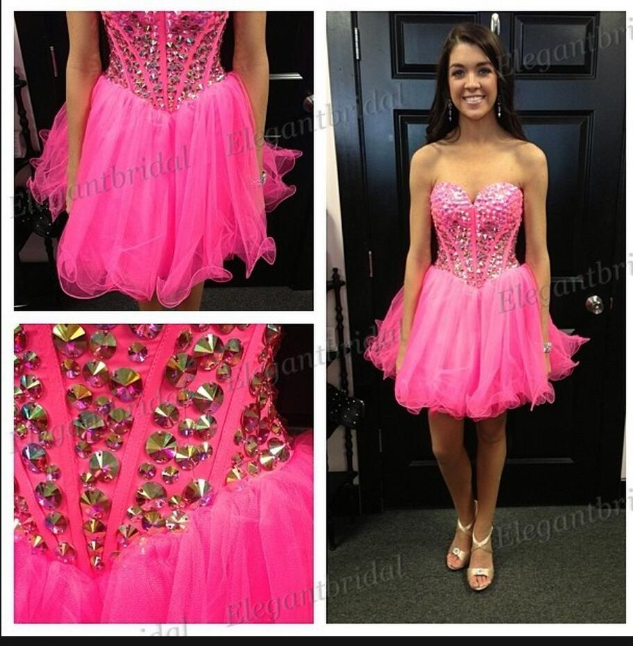 2016 new arrival beading crystals hot pink short prom dress strapless lovely sweetheart petite prom gowns best selling