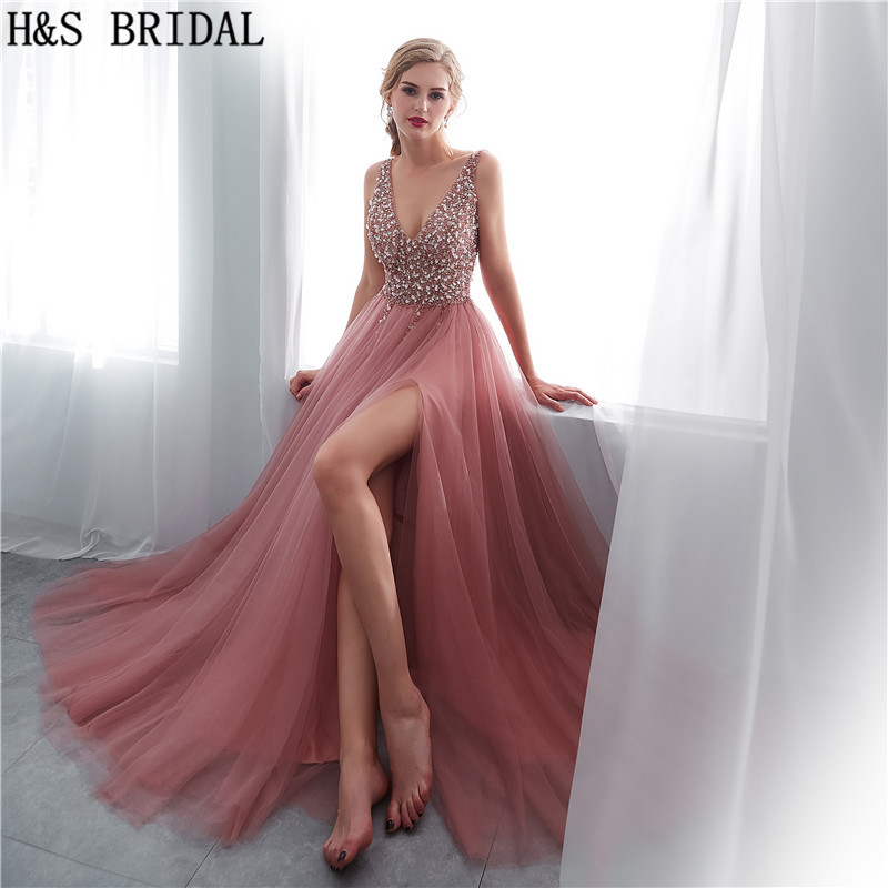 H&S BRIDAL V Neck Beading Evening Dress Back Lace Up With Slit robe de soiree Gown 2018 Long Prom Dresses