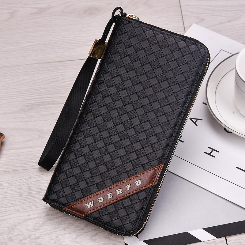 New Luxury Male Leather Purse Men's Clutch plaid Wallets Handy Bags Business Carteras Mujer Wallets Men Black Brown Dollar Price 2016 famous brand new men business brown black clutch wallets bags male real leather high capacity long wallet purses handy bags