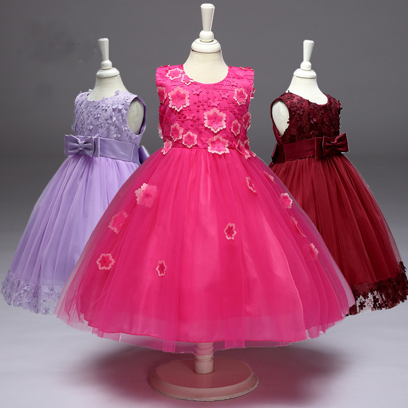 Girls Dresses For Party And Wedding 2017 Brand Summer Lace Dress Princess Costume Rose Floral Menina Kids Dress for Girls