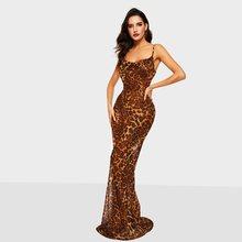 Leopard Print Sexy Strap Dress Women Backless Deep V Evening Summer 2019 Fashion Slim Party Elegant Mermaid Maxi Dresses Female