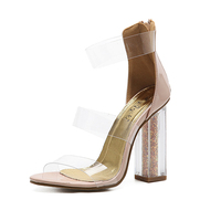 New Style Hot Sales Ladies Fashion Transparent Square High Heels Open Toe Silettos Female Sexy Thin