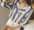 Free Shipping Simple Design Korean Turn-down Collar Stripe Long Sleeve Woman Chiffon Blouse