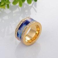 Top kwaliteit rvs ringen voor vrouwen fasthion charm luxe sieraden Blauwe oceaan verklaring sieraden 12mm breed SSC004