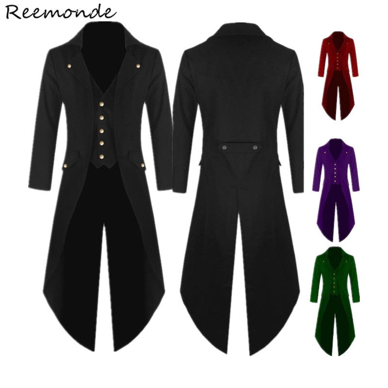 Adult Men Victorian Costumes Black Red Tuxedo Tailcoat Jacket Steampunk Trench Coat Frock Outfit Gothic Dress Overcoat Uniform