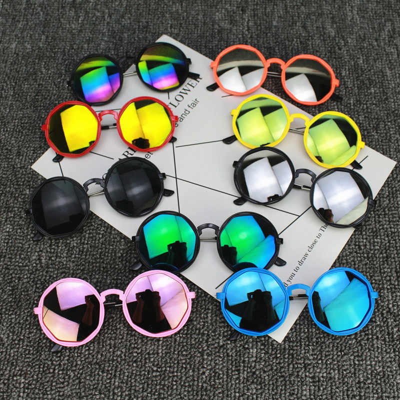 Korean Streetwear Kid Boy Girl Colorful Sunglasses Round Reflective Glasses Children UV400 Sunglasses Frame Toy Gift Accessories