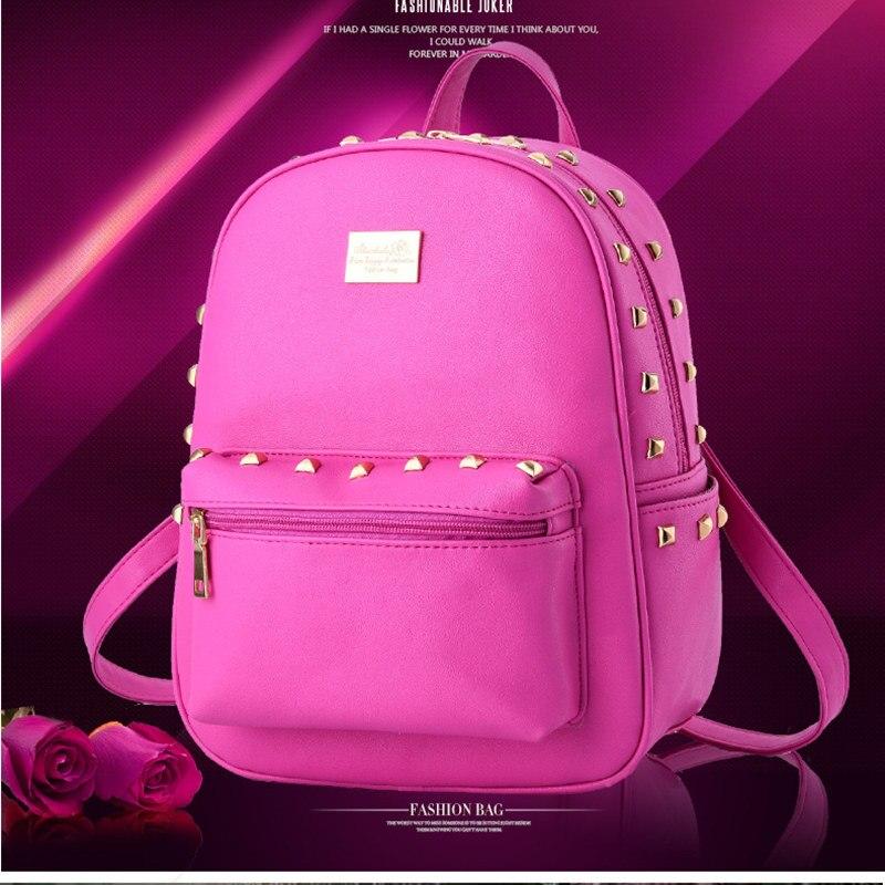 ФОТО Fashion Casual PU Women Backpacks Traveling Bag Adjustable Straps Schoolbag Rivets Decoration Zipper
