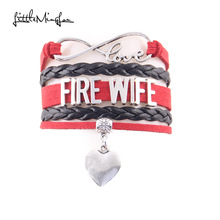 Little Minglou Infinity Love firefighter wife bracelet heart charm leather wrap bracelets & bangles for women jewelry