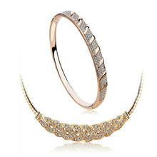Modern Hot Newest Best Selling 2017 Women Fashion Jewelry Sets Elegant Charming Party Wear Crystal Three Pieces Suit