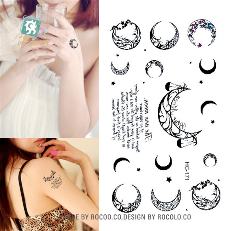 Body Art Sex Products Waterproof Temporary Tattoos For Men Women Simple Black Moon Design Flash Tattoo Sticker HC1171