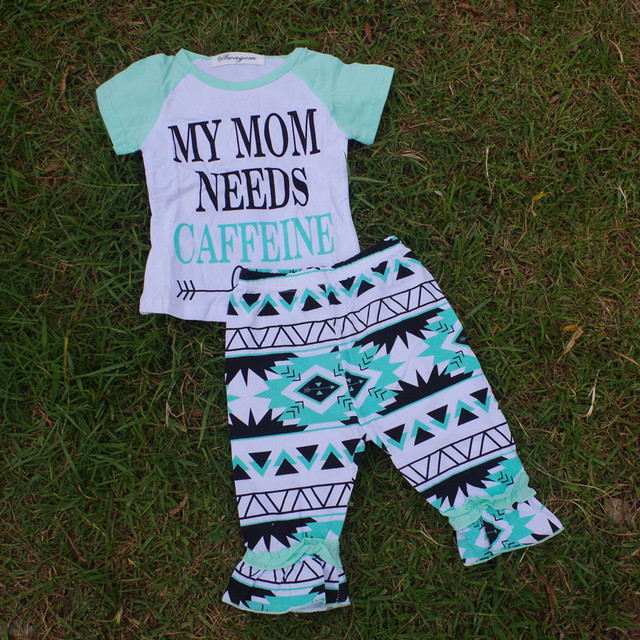 Summer Baby Cotton Outfit Girls Mom Need Printed Top Set Cute Baby