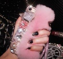 Роскошный чехол для телефона lamadiaa с кроличьим мехом бриллиантами