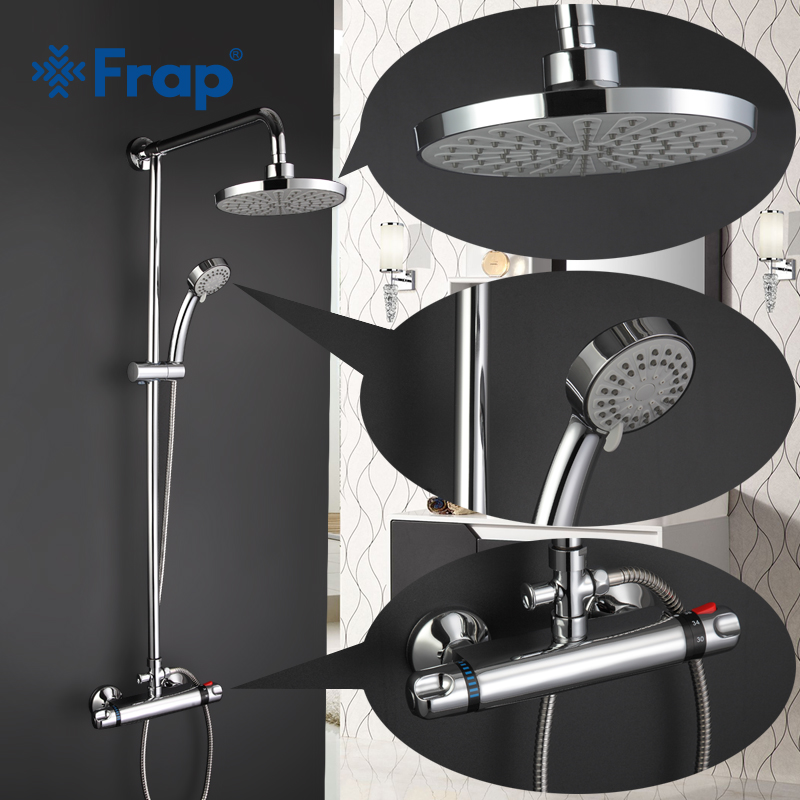 Frap 2017 Bathroom Rainfall Shower Faucets Set Handle Mixer Tap Thermostatic Faucets Chrome Wall Mounted Bath Showers Sets F2403