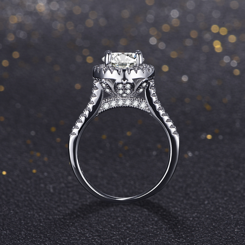 Hot sale Fashion Luxury Women Engagement Ring 925 sterling Silver AAAAA Zircon Female Wedding Finger Flower Crwon Wedding Bands