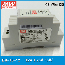 Original MEAN WELL DR-15-12 15W 1.25A 12V Industrial DIN rail mounted Power Supply slim size power supply ac to dc 12V