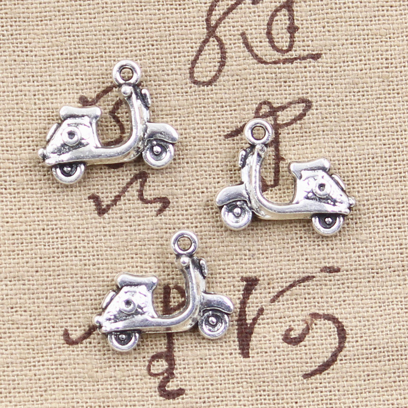 10pcs Charms motorcycle scooter autocycle 15*19mm Antique Silver Plated Pendants Making DIY Handmade Tibetan Silver Jewelry