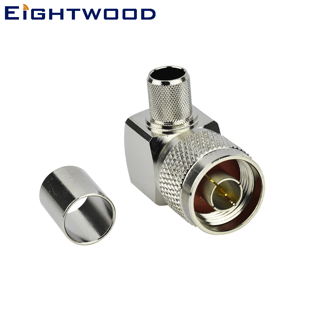 Eightwood 5PCS N Male Crimp RF Coax Connector Right Angle for RG213 RG8 LMR400 Cable Adapter