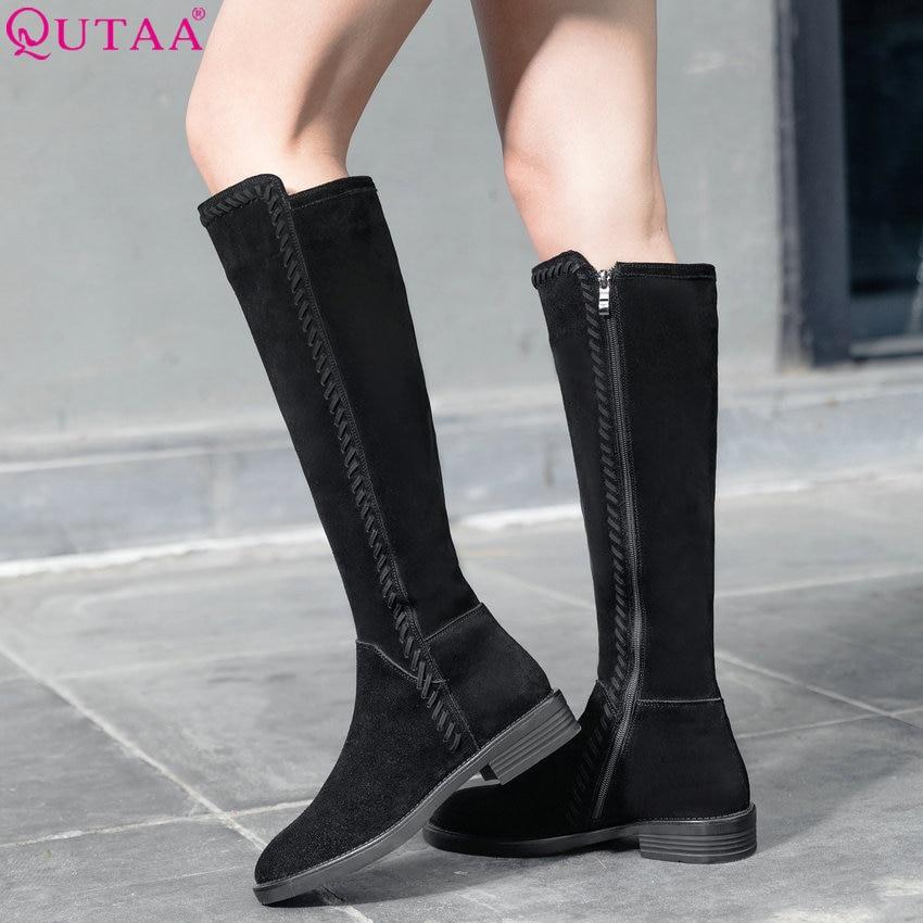 Taille De Daim Chaussures Casual 2019 Femmes 34 forme 39 Haute En Carré Talon Genou Qutaa Bottes Cuir Vache Plate Mode 0fzTqnn