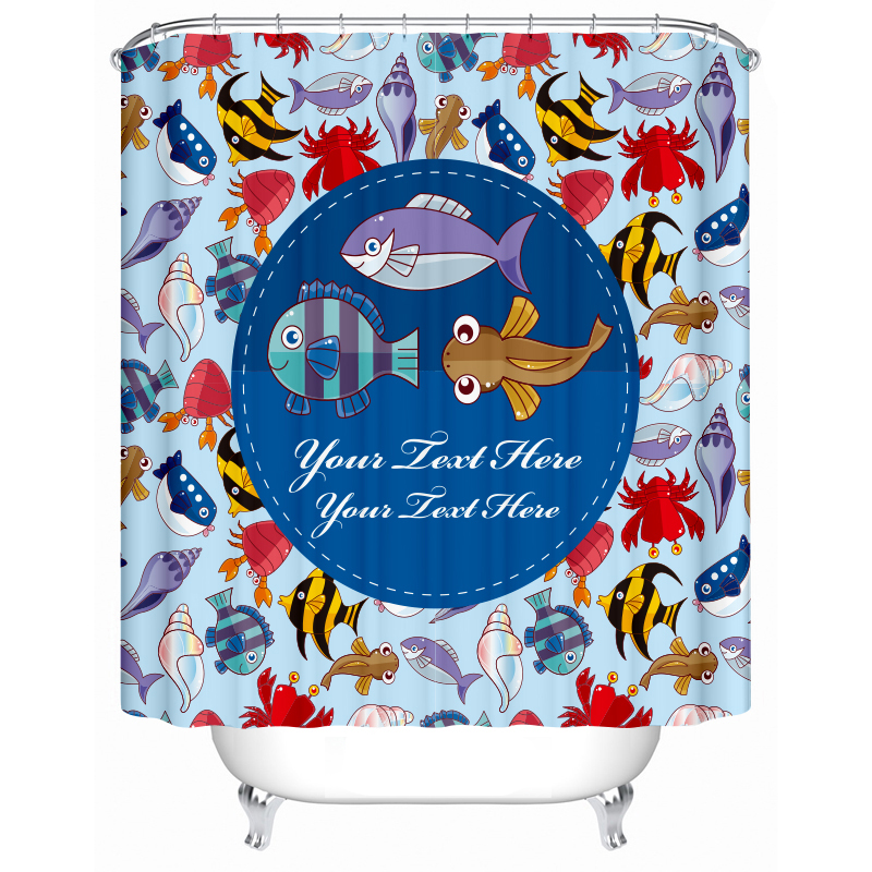 Fish Shower Curtain Cartoon Waterproof Polyester Bath