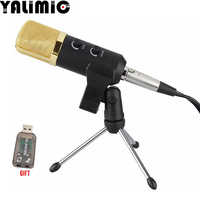 MK -F100TL Wired microphone USB Condenser Sound Recording Mic with Stand for Chatting Singing Karaoke Laptop Skype