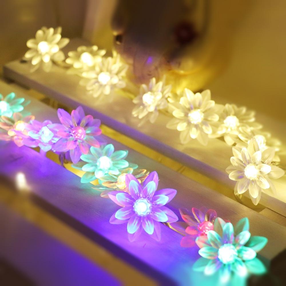 4m 5m Lotus Flowers Led String Garland Light Holiday Decorative Light Christmas Wedding Decoration Lighting EU Plug AC220V JQ