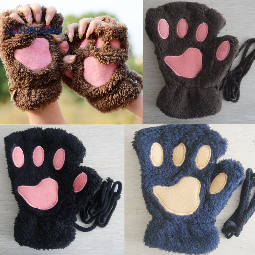 10 Pairs Women Lovely Winter Warm Fingerless Gloves Girls Fluffy Bear Cat Paw Claw Half Finger Plush Gloves Mitten Dropshipping