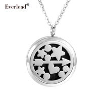 Everlead 30mm Locket 316L Stainless Steel Magnetic Diffuser Pendant Aromatherapy Perfume Locket Pendant Lovers Gift Jewelry