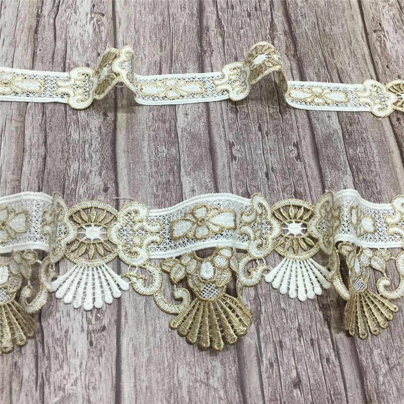 Vải Thiều Đời Vàng Hoàng Gia Pháp Viền Ren Thêu Ren Hoa Nơ DIY May Chất Liệu Cô Dâu Ren cho Váy Cưới