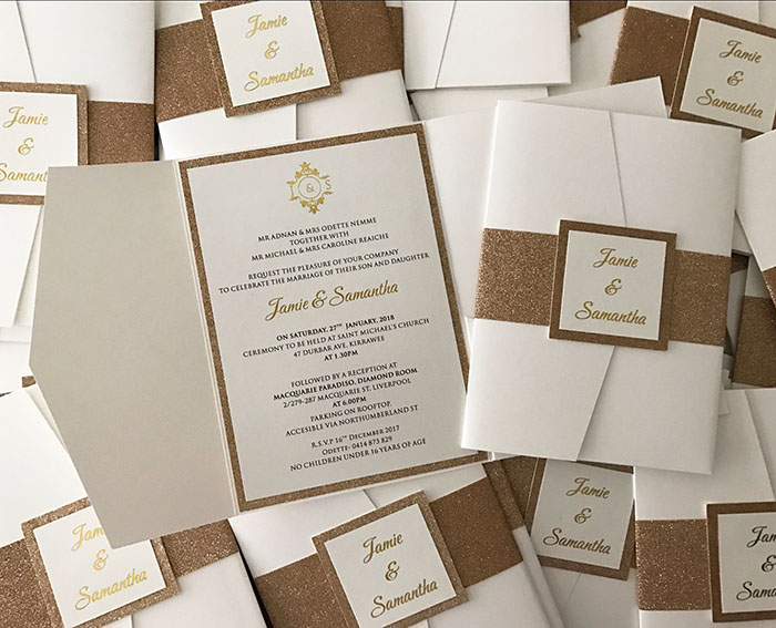 Glitter Pocketfold Wedding Invitations with belly band CA0766in