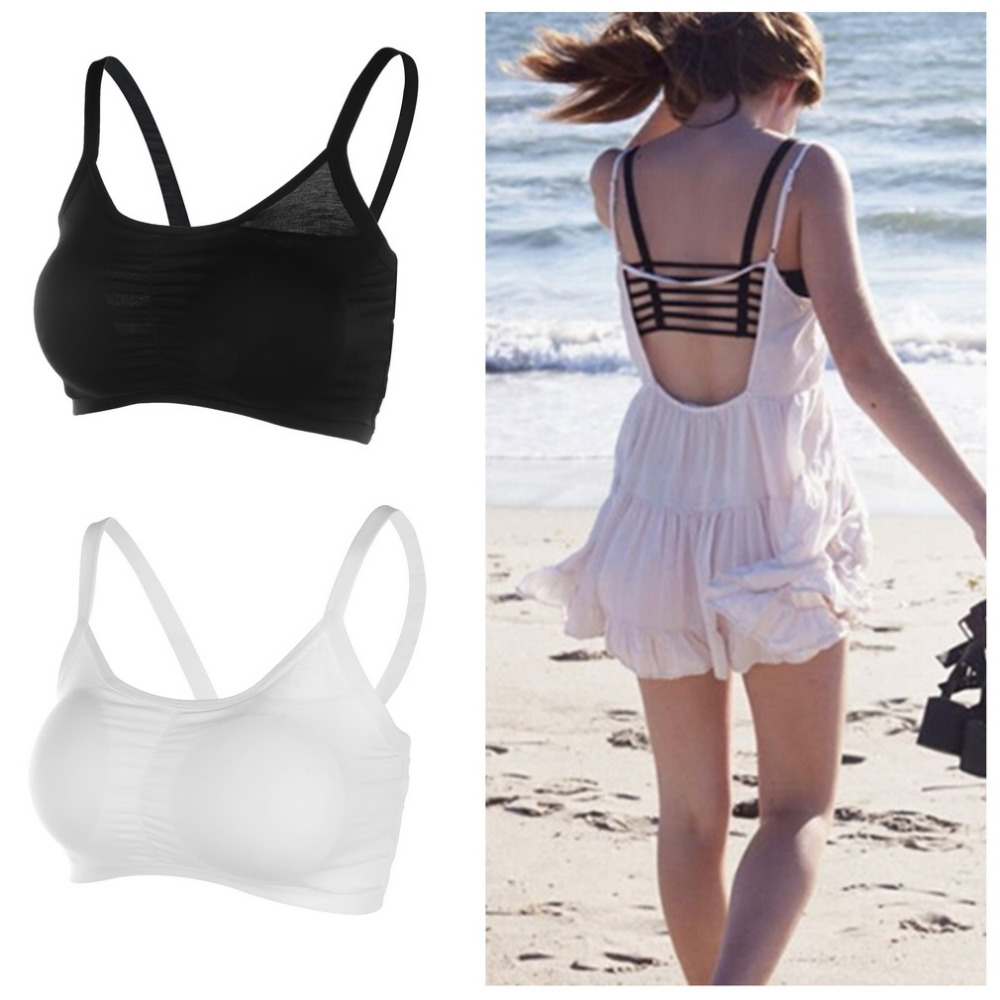 Buy Women Sexy lingerie Hollow Back Shirt Tank Top Padded Bra Wrap Vest Chest Bra Cropped Tops Bustier summer tops