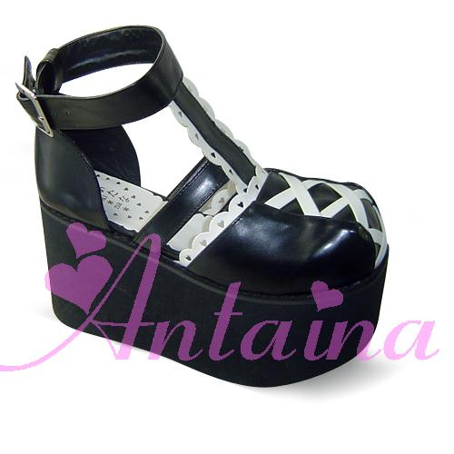 Princess sweet lolita gothic lolita shoes custom Antaina black-and-white lf85 platform shoes cosplay princess sweet lolita gothic lolita shoes custom harajuku platform zipper style 9826 black
